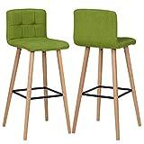 Duhome 2X Barhocker Barstuhl aus Stoff Leinen Grün Gestell aus Buche Tresenhocker Bar Sessel gut gepolstert mit Lehne Farbauswahl 5117A