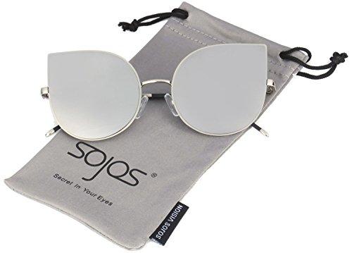 SOJOS Cateye Damen Sonnebrille Mirrored Ultra Thin Ultra Light Metal Frame Women Sunglasses SJ1022 mit Silber Linse