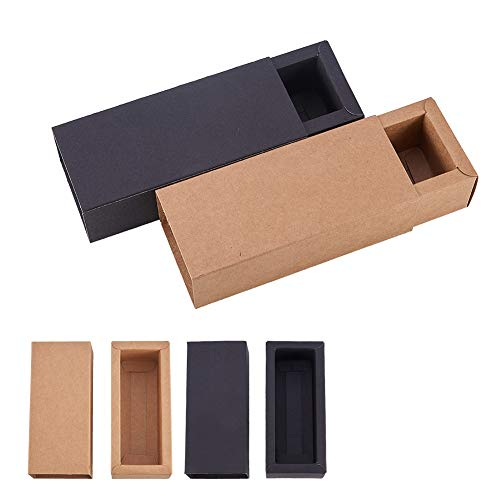 BENECREAT 20 Pack Mixed Kraft Paper Drawer Box Festival Gift Wrapping Boxes Soap Jewelry Candy Weeding Party Favors Gift Packaging Boxes - 2 Colors (12.3x5.4x3.8cm)