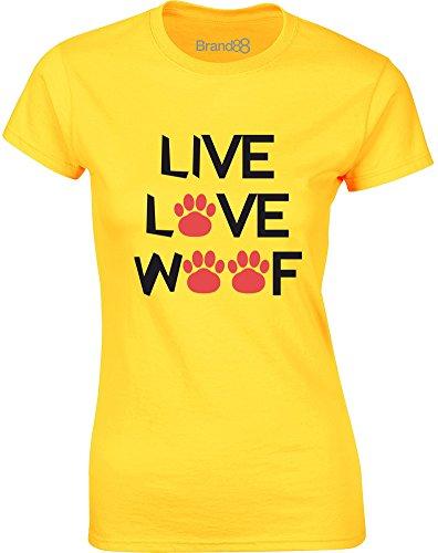 Brand88 - Live Love Woof, Gedruckt Frauen T-Shirt Gänseblümchen-Gelb/Schwarz/Rote