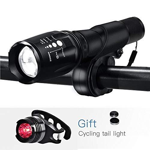 Sport & Freizeit Zugelassen Wiederaufladbare Fahrradbeleuchtung, Fahrradlampe Set inkl, LED Frontlichter und Rücklicht, 18650 Akku USB Aufladbare Fahrradlichter, Black