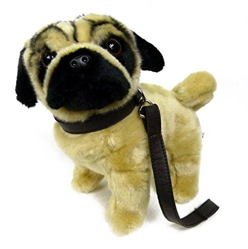 TrachtExemplar Süßer Plüsch Mops - flauschig weich - beige / schwarz - in lebensechter Optik - Hund ca. 26 cm