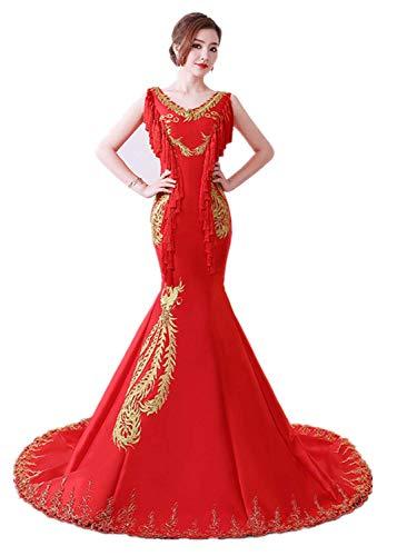 Chinesische Kostüm Qipao - Susichou Qipao Chinesischen Stil Host Abendkleid Tube Top Kostüm Fischschwanz schlankes Modell Laufsteg Kleid schleppend