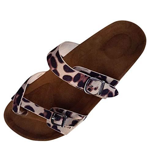 ✿✿Eaylis Damen Sandalen Flache Unterseite Leopardzehe Einzelne GüRtelschnalle SäGemehl Sommer Strand Schuhe Hausschuhe Stilvoll Und Elegant