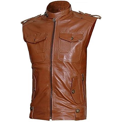 Celebrity Fashion Design Biker Wear Men's Cognac Leather Vest - Tabb CFD2000359