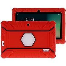 """Fukalu Funda de la Cubierta 7 pulgadas de silicona a prueba de golpes para los niños para Jeja La tableta de 7 """"Dragón táctil de 7 pulgadas, iRULU X1S Tablet de 7 pulgadas, Yuntab Q88 A33 7 pulgadas, iRULU niños de 7 pulgadas, Alldaymall A88X Tablet 7 pulgadas, ibowin P740 7 Pulgadas (Rojo)"""