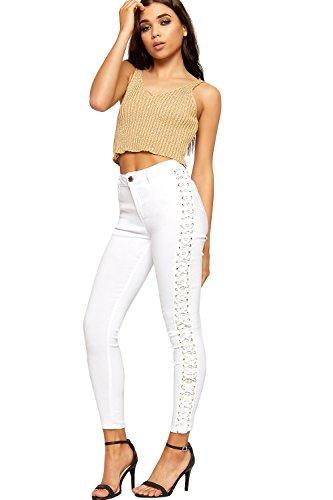 WEARALL Femmes Toile Maigre Jambe Jeans Dentelle Cravate Plein Longueur Bouton Étendue Nouveau - 34-42 Blanc