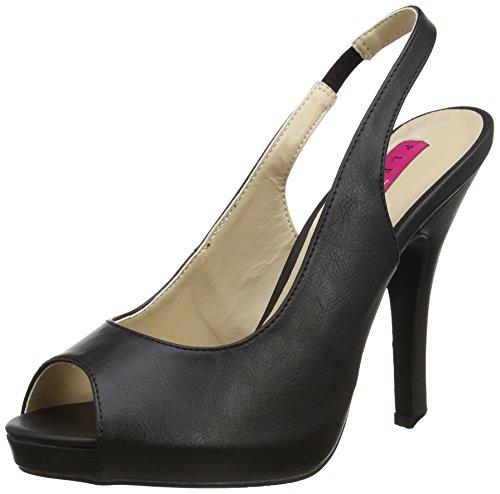 Pleaser Pink Label Damen Eve-04 Slingback Sandalen, Schwarz (Blk Faux Leather), 40 EU 5 Zoll Stiletto Heel Platform