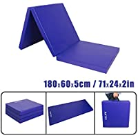 CCLIFE Colchoneta Plegable de Espuma para Gimnasia Yoga Deportiva Yoga estrilla Triple Plegable 180/60/5cm, Color:Azul