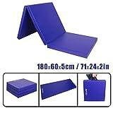 CCLIFE 180x60x5cm Weichbodenmatte Turnmatte Klappbar Gymnastikmatte Farbauswahl, Farbe:Blau