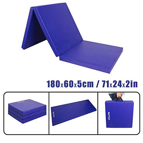 CCLIFE 180x60x5cm Klappbare Weichbodenmatte Turnmatte Fitnessmatte Gymnastikmatte rutschfeste Sportmatte Spielmatte, Farbe:Blau 180x60x5cm