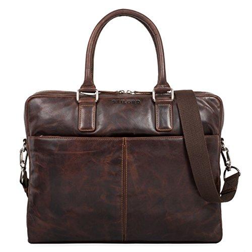 STILORD 'Emilio' Umhängetasche Leder Vintage groß Schultertasche Elegante Handtasche für Büro Business Arbeit Laptop 13.3 Zoll Aktentasche DIN A4, Farbe:Mocca - Dunkelbraun -