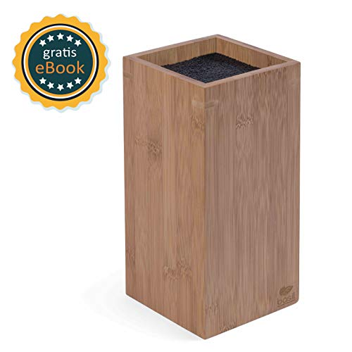 BASIL | Bambus Messerblock unbestückt mit schonendem Borsteneinsatz | Holz Messerhalter & Universal Holzblock zur Messeraufbewahrung | Kunstoffborsten | Messer | geruchsfrei & spülmaschinenfest