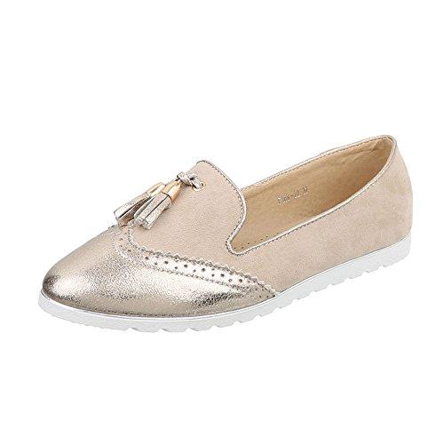 Ital-Design Slipper Damen-Schuhe Low-Top Moderne Halbschuhe Beige Gold, Gr 38, F169-22-