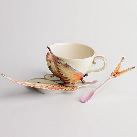 Franz Papillon Butterfly Design Sculptured Porcelain Cup, Saucer, and Spoon Set