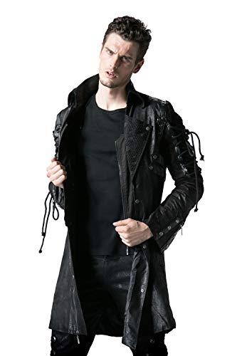 Punk Rave Herren Winter Lange Leder Gothic Trenchcoat Jacke 4XL Schwarz -