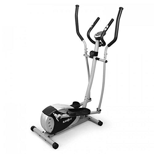 Klarfit ELLIFIT BASIC20 - Vélo elliptique, Ergomètre, Crosstrainer, Freinage Magnétique, Ordinateur, Mesure du pouls, Vélo Pliable, LCD, 8 paliers, Acier, Gris