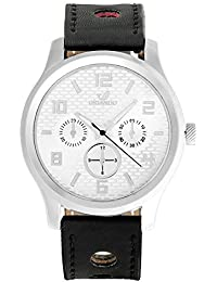Orlando® Branded Chronograph Look With White Dial & Black Leather Belt Watches For Men - W1291BSWX