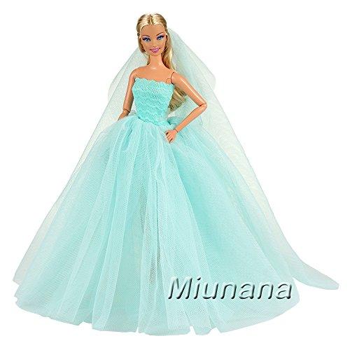 Miunana Abendkleid Ballkleid Prinzessin Kleidung Dress Kleider Kleid mit Brautschleier für Barbie Puppen Weihnachten Party Geschenke Xmas (Blau) (Kleidung Puppe Prinzessin)