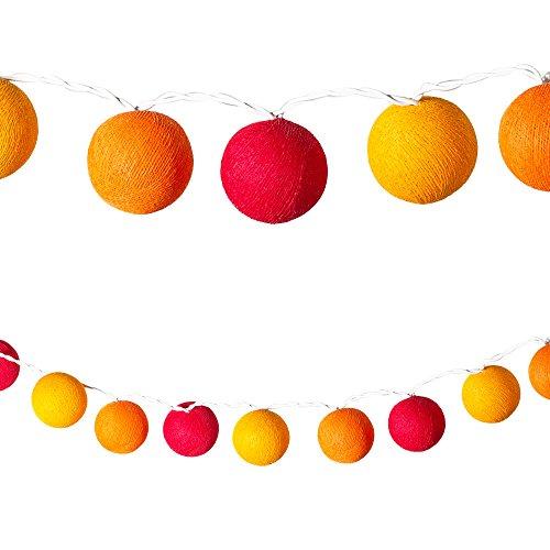 etten bunt 20 Baumwollkugeln (6 cm) CE 3,5m Deko innen Cotton Ball | Baby Nachtlicht Schlummerlicht | Dekoration Hochzeit Geburtstag Party Weihnachten Lichterkette orange ()