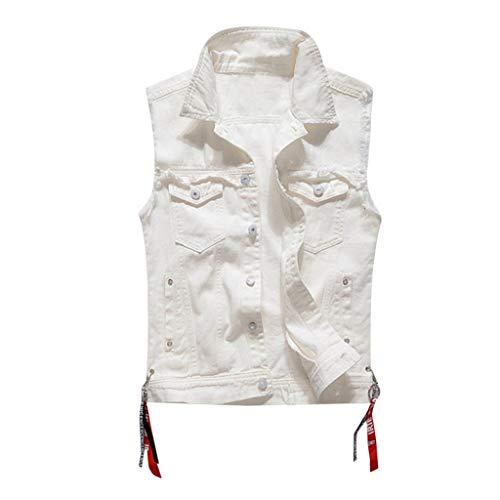 🔥 Eaylis Herren T-Shirt Tops Mode LäSsig WeißE äRmellose Weste Weste Denim Weste Top