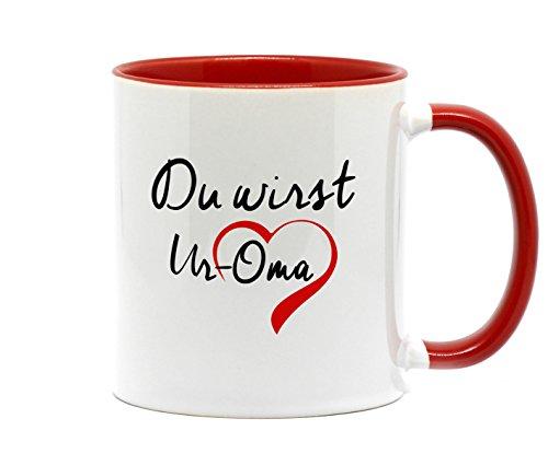 Du wirst UROMA, Tasse in hochwertiger Qualität und beidseitig bedruckt. Die schönste Art etwas zu sagen. Ein tolles Geschenk für die künftige Ur Oma. (Rot)