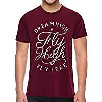 THE UPMARKET STORE® Men's Tshirt | Dream High Fly High Graphic Printed Smart Maroon T-Shirt | Stylish Casual & Premium Cotton T Shirts for Men