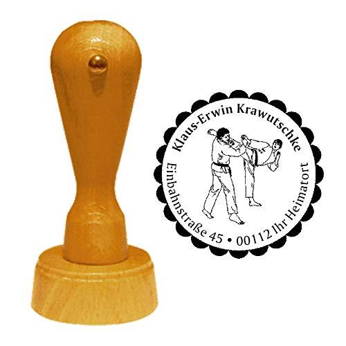 Stempel Adressstempel « Karate » Durchmesser ca. Ø 40 mm - mit persönlicher Adresse, Motiv und Zierrand - Sport Kampfsport Kampfkunst