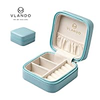 Vlando Small Faux Leather Travel Jewellery Box Organiser Display Storage Case for Rings Earrings Necklace For Birthday Gift Party Gift