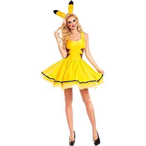 Diorerr Frau Halloween Anime Pikachu Kostüm Erwachsene Bühnenkostüm Cosplay Uniform