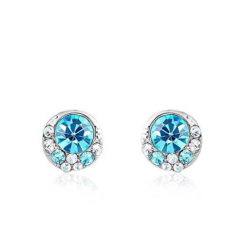 Hypoallergen Modeschmuck Ohrringe Österreichischen Kristall Platin Blau Ohrringe Schmuck , Platin