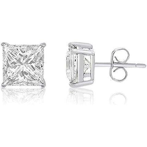Kezef Creations–Cestino quadrato 12x 12Post Ear Bianco Zirconia Cubica, 925+ ecoat