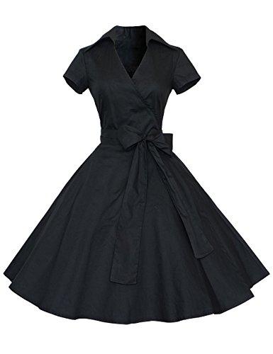 Image of GlorySunshine Women's Short Sleeve Bow Belt Vintage Knee Length Classical Casual Dress Black XL
