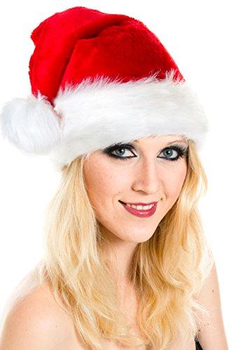 Weihnachtsmütze Mütze Weihnachten Weich Nikolausmütze Dicker Fellrand aus Plüsch...