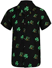 130ae6b186 OE Menswear Hawaiian Shirt Saint Patrick's Day ST Patricks Ireland Irish  Clover Leaf Mens Loud Aloha