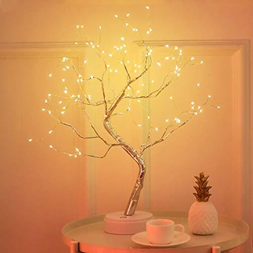 XIYUNTE Lumières de l'arbre Veilleuses Lampes de chevet et de table vec bouton tactile, 108 LED perles Décor de chambre d'enfants,Batterie et alimenté par USB Lampes à motifs pour d'enfant, Noël, fête