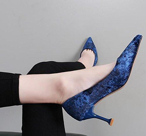 kphy-fine con XI Shi velluto singolo scarpe luce ugello punta semplice scarpe col tacco alto 7cm e versatile moda donna scarpe blue