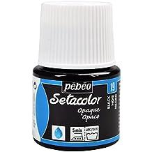 Pebeo Setacolor - Colore per tessuti opaco, 45 ml, colore nero