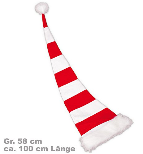 Nikolaus Weihnachtsmann Mütze Ringelmütze 100cm ()
