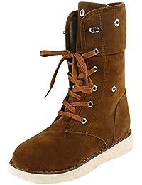 Sonnena Damen Warm Schneestiefel Winterstiefel Casual Bequem Plateau  Stiefeletten Knöchel Boots Sexy Rund Toe Flach Boden ea20a0465e