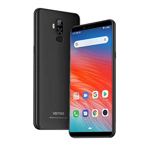 Vernee X2(2019) Smartphone Ohne Vertrag, Android 9.0, 6350 mAh große Batterie, 3GB RAM 32GB ROM, 13MP+5MP Haupt/5MP Frontkameras, Dual SIM 4G Handy, 6 Zoll 18: 9 HD-Display, Face-ID(schwarz)