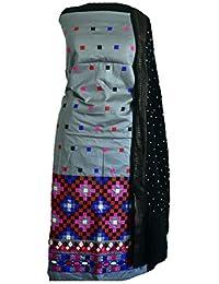KATHIWALAS Women's Cotton Silk Kutch Work Bandhani/Bandhej Unstitched Dress Material Suit (CEMENT BLACK, Free Size)