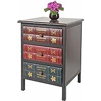 ts-ideen estantería cómoda librero estilo de vintage antiguo libros rustico con 3 cajones, color marrón