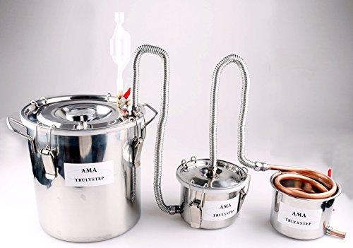 3 Töpfe DIY Haus Destillieranlage Schnapsbrennen Kühler Schlangenkühler Thermometer Destille Alkohol Wein Geisten Wasser Ätherischer Öle (Kupfer, 10 L Liter)