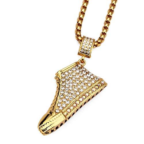 YABEME Herren Titan Stahl Domineering Farbe Diamant große Schuh Anhänger Halskette (Teen Titans Schuhe)