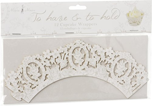 Meri Meri 45-0629 Cupcake-Manschette, 12 Stück, 21 cm breit, weiß mit Rosen-Muster, 5 cm Bodendurchmesser, aus stabilem Papier