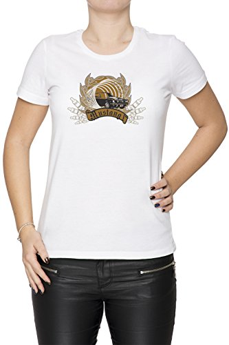 Mustang Donna T-shirt Bianco Cotone Girocollo Maniche Corte White Women's T-shirt