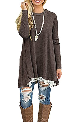 CoCo Fashion Damen Tunika Langarm Oversize Sweatshirts Frühling Casual Lang Tshirt Top Braun