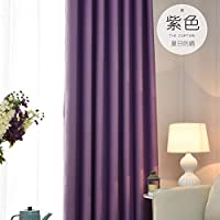 BATSDCB Summer Sunscreen Drapes, Solid color Thick Insulation Sunshade Living room Bedroom Panel window Full blackout curtains, 1 panels-purple 250x250cm(98x98inch)