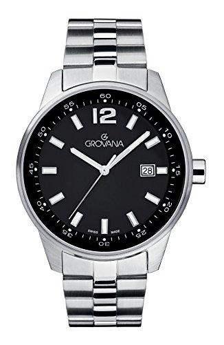 GROVANA - 7015.1137 - Montre Homme - Quartz Analogique - aiguilles luminescentes - Bracelet Acier Inoxydable Argent